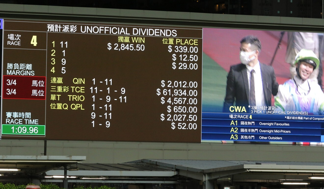The big screen at Happy Valley shows Top Military's huge win dividend.