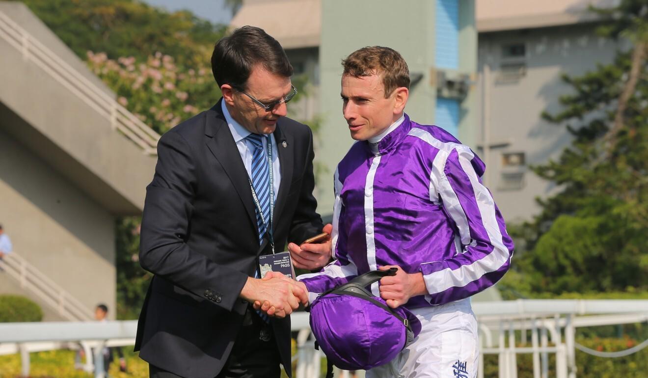 Trainer Aidan O'Brien and jockey Ryan Moore combine with Arizona at Newmarket on Saturday.