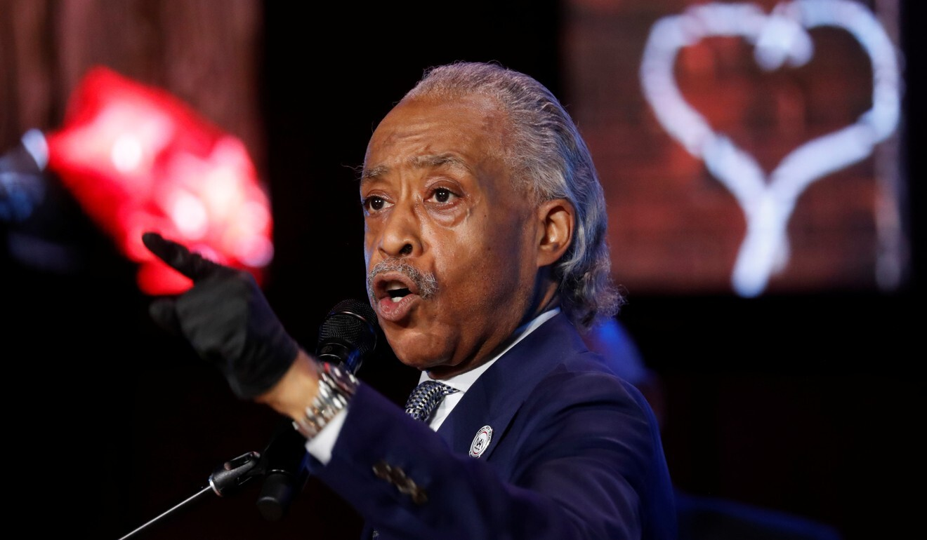 Reverend Al Sharpton speaks during a memorial service for George Floyd in Minneapolis on Thursday. Photo: Reuters