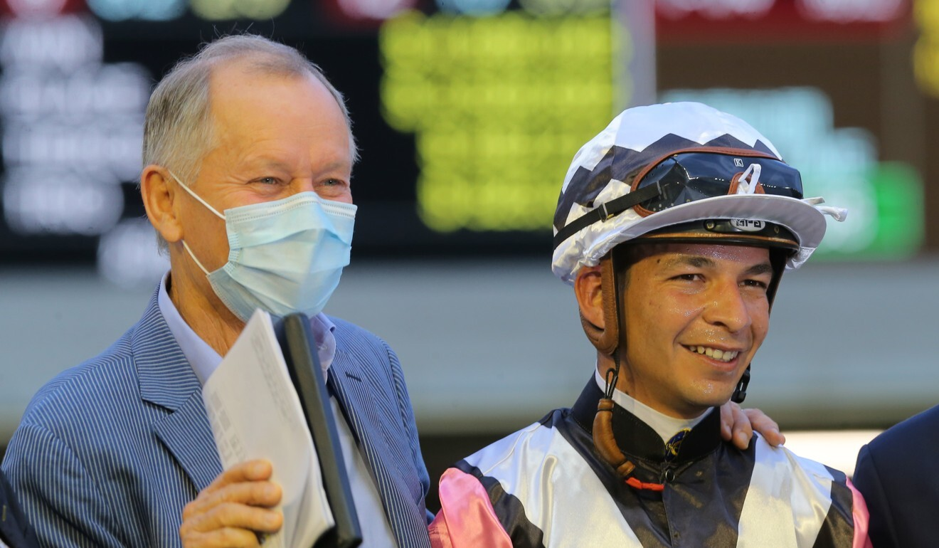 John Moore and Vagner Borges enjoy a winner on Wednesday night.