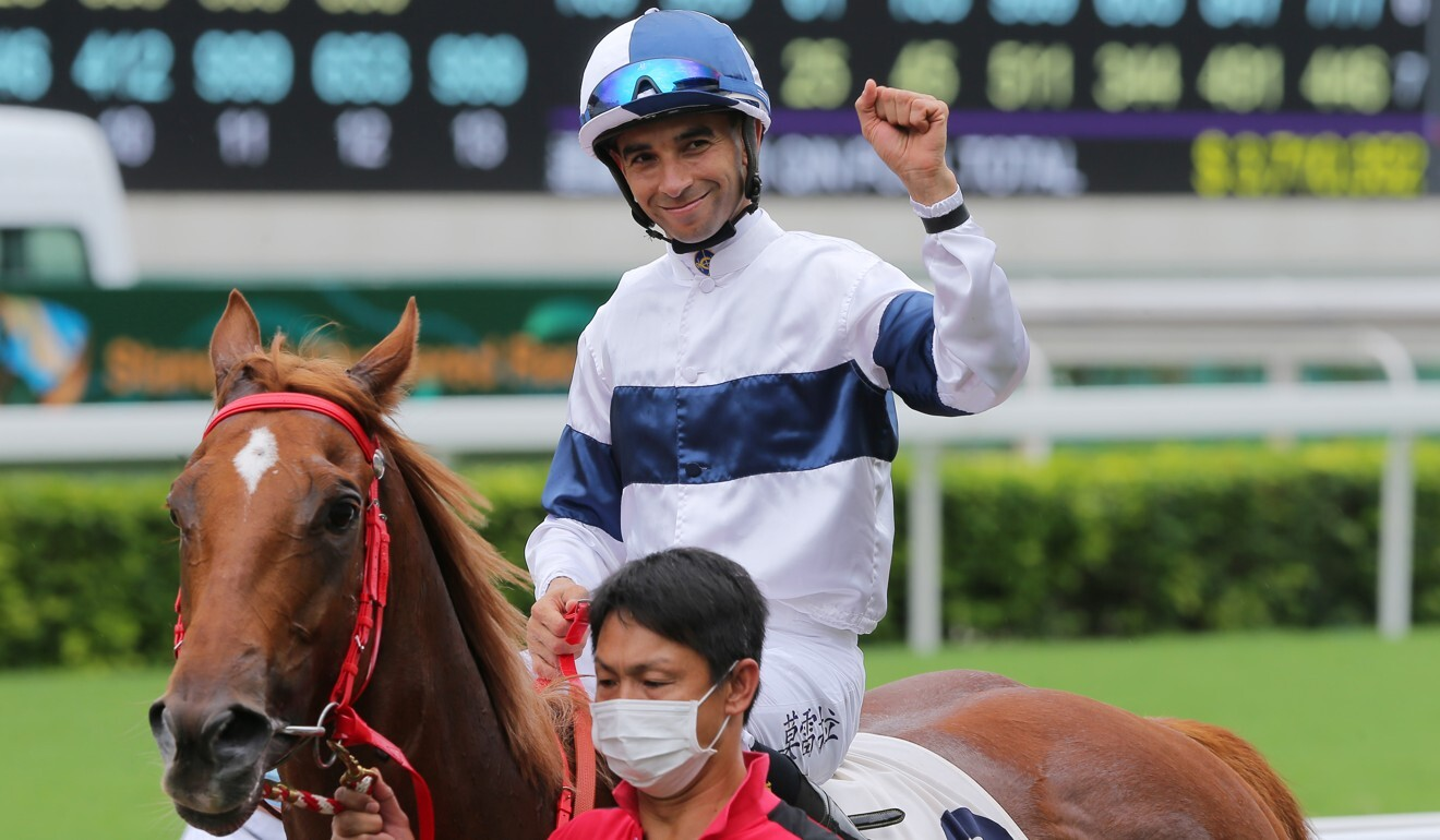 Joao Moreira celebrates one of his four winners on May 24.