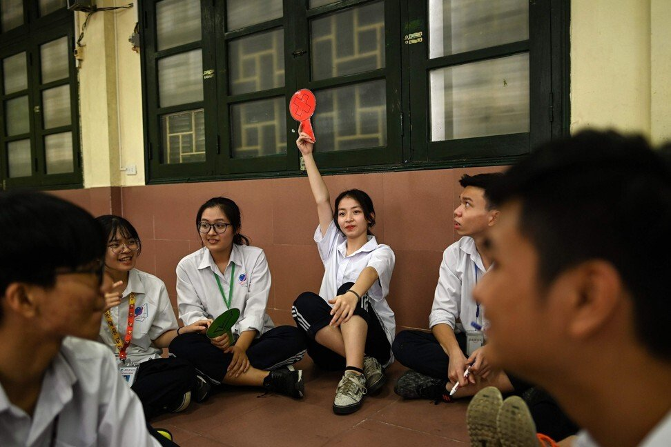 High school students take part in a sex education class at the Nguyen Tat Thanh High School in Hanoi. Photo: AFP