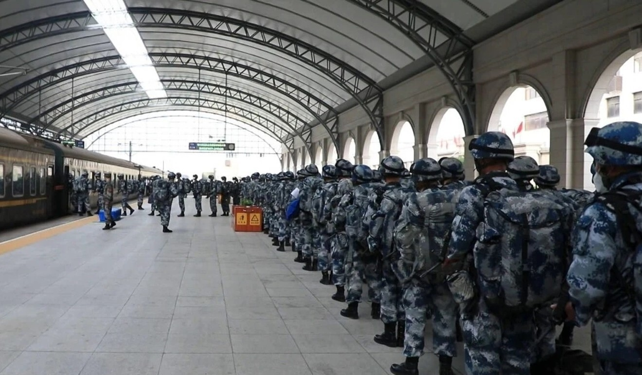 "Soldiers also took trains in the ""manoeuvre operation"". Photo: Weibo"