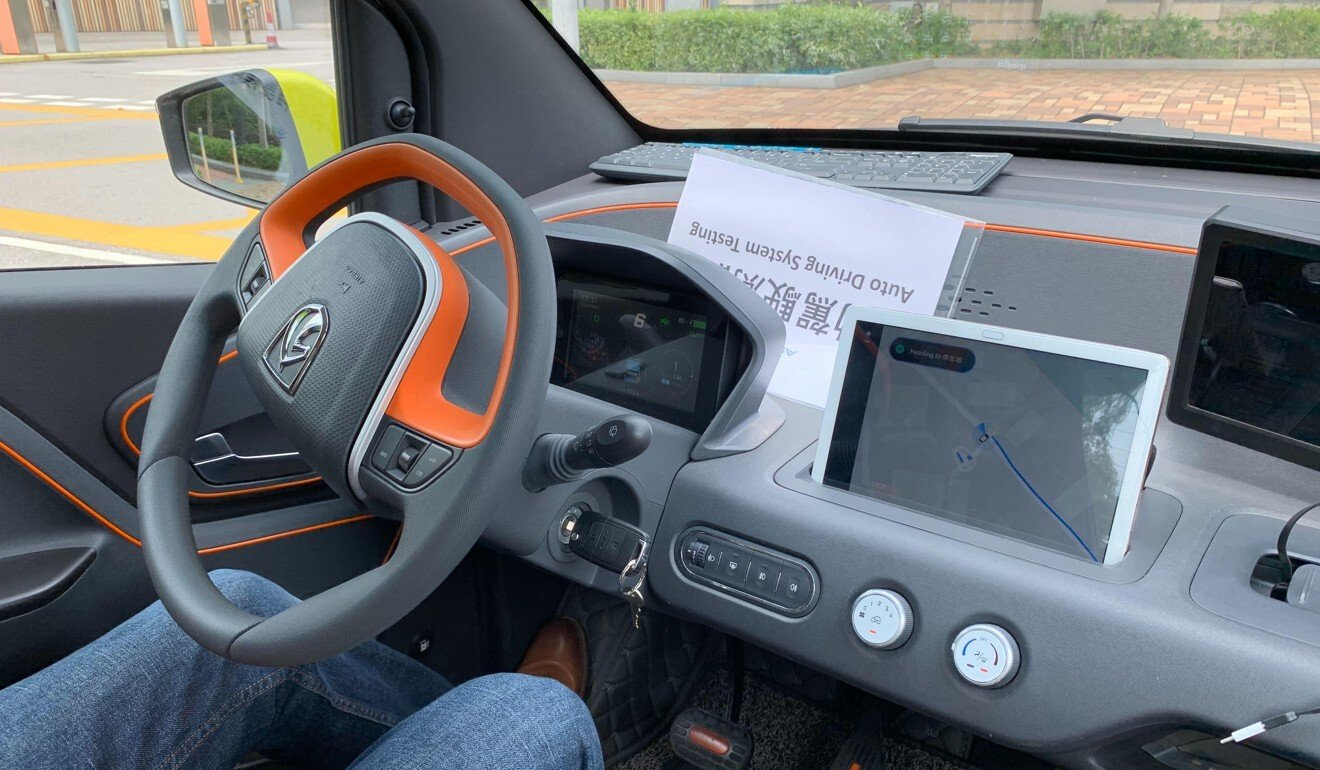 Interior view of an autonomous car being tested by ASTRI in collaboration with China Mobile Hong Kong. Photo: SCMP/Iris Deng