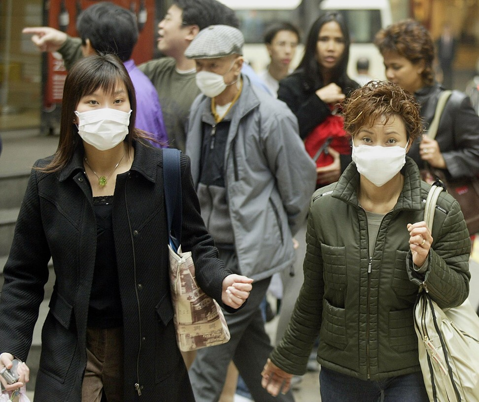 Hongkongers in Central during the 2003 Sars outbreak. Photo: AFP
