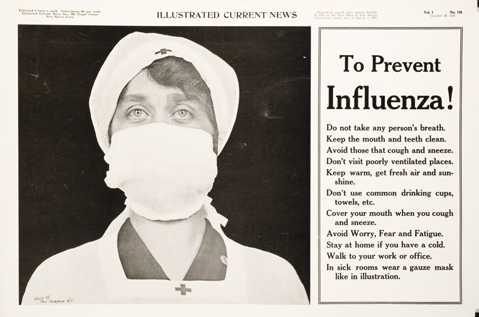 An announcement from the Illustrated Current News dated October 18, 1918, offering tips for how to stop the spread of influenza. Photo: National Library of Medicine