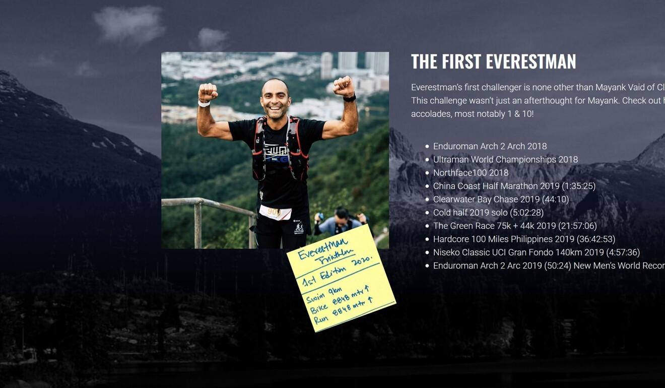 Screenshot from the official Everestman.com website, featuring Mayank Vaid. Photo: Everestman.com