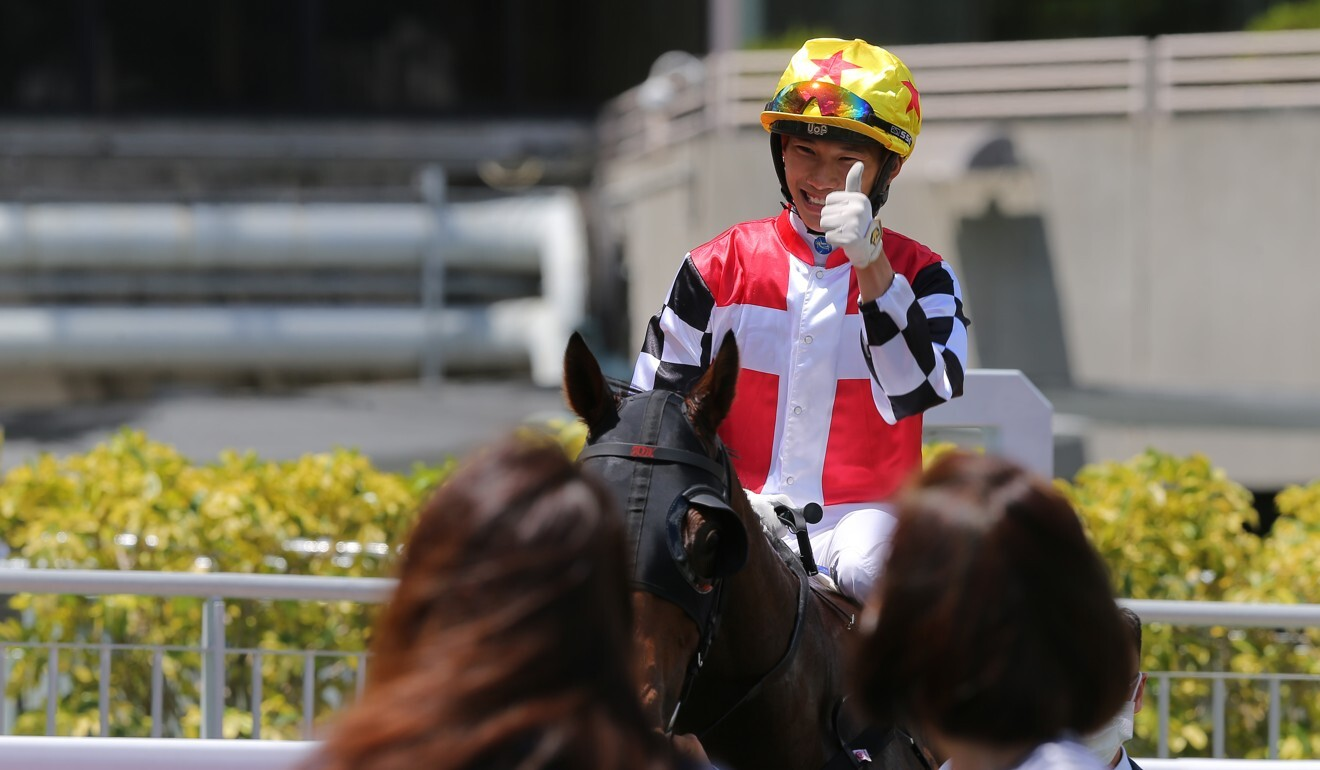 Jerry Chau returns on First Responder after winning at Sha Tin on Sunday.