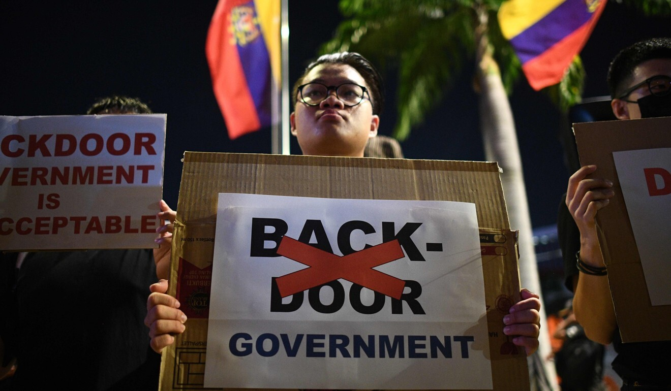 Malaysians gather in February for a protest against a new government being formed without elections. Photo: AFP