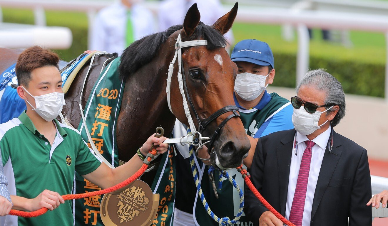 Trainer Tony Cruz with Exultant after winning the Champions & Chater Cup this season.