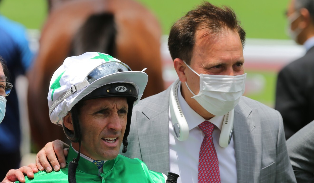 Neil Callan with Caspar Fownes after riding Double Take to victory.