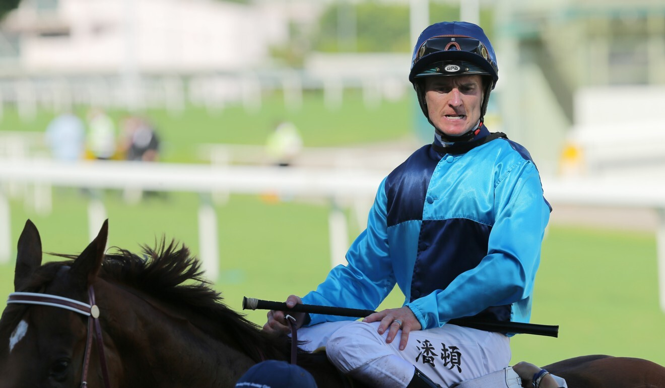 Zac Purton returns after winning on Sunny Boy at Sha Tin.