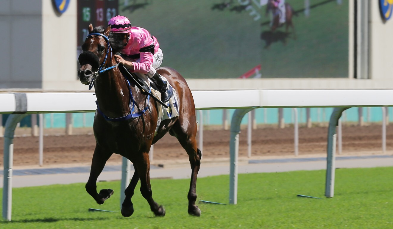Zac Purton bolts clear on Perfect Pair at Sha Tin on Sunday.