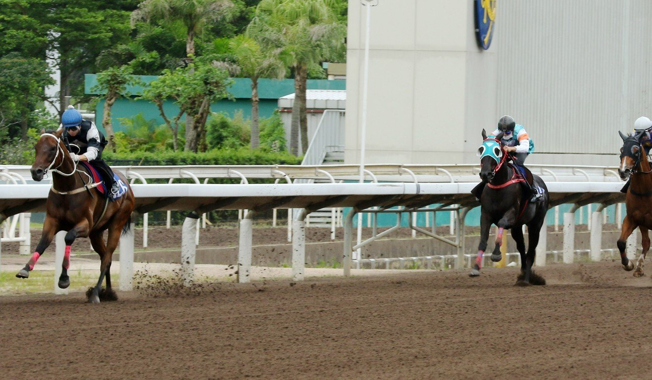 Transcendent (left) coasts to victory in a trial at Sha Tin on June 26.