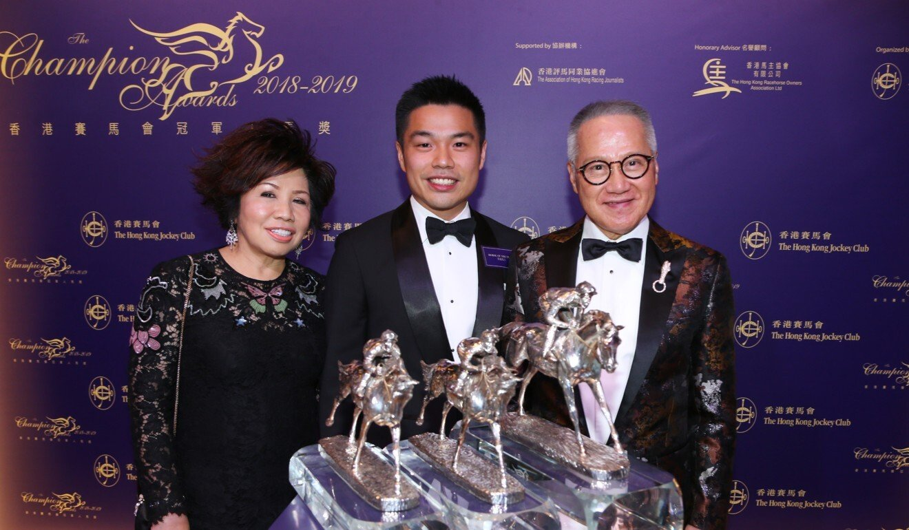 The Kwok family collect their Horse of the Year award at the 2018-19 Champion Awards.