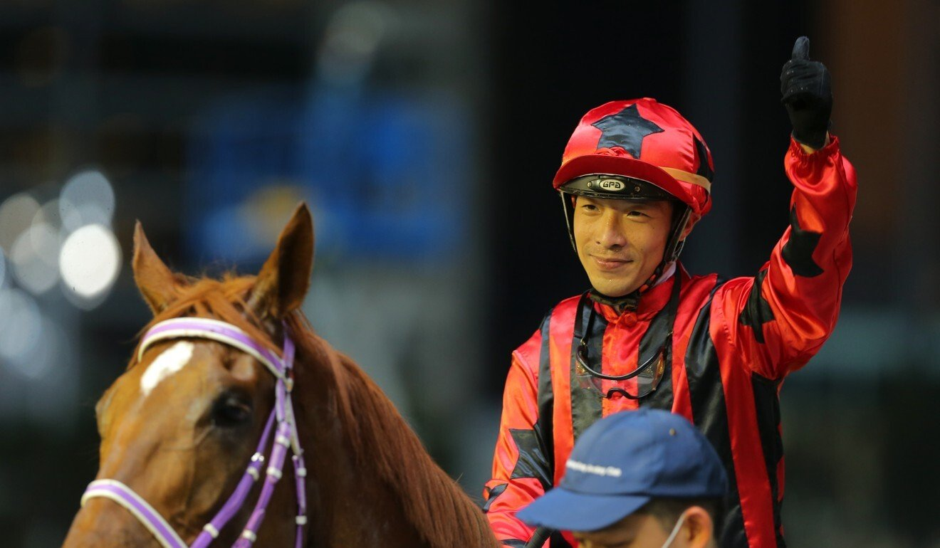 Ben So celebrates his win on Divine Unicorn at Happy Valley this season.