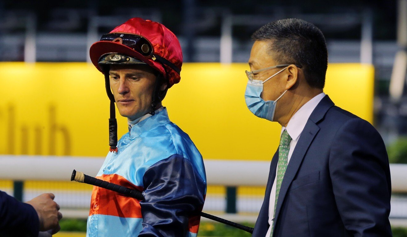 Zac Purton with Francis Lui after winning on Star Shine at Happy Valley last month.