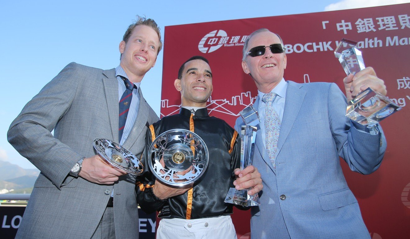 John Moore (right), his son George (left) with Joao Moreira after an Able Friend victory. Photo: Kenneth Chan