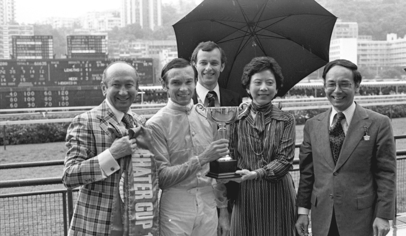 Members of the Moore family: horse trainer George Moore (left), jockey Gary Moore (second left) and assistant trainer John Moore (back) posing with Silver Lining's owners Mr and Mrs Sanford Yung Yung-tao after the horse won the 1979 Hong Kong Champions & Chater Cup at the Happy Valley Racecourse. Photo: SCMP