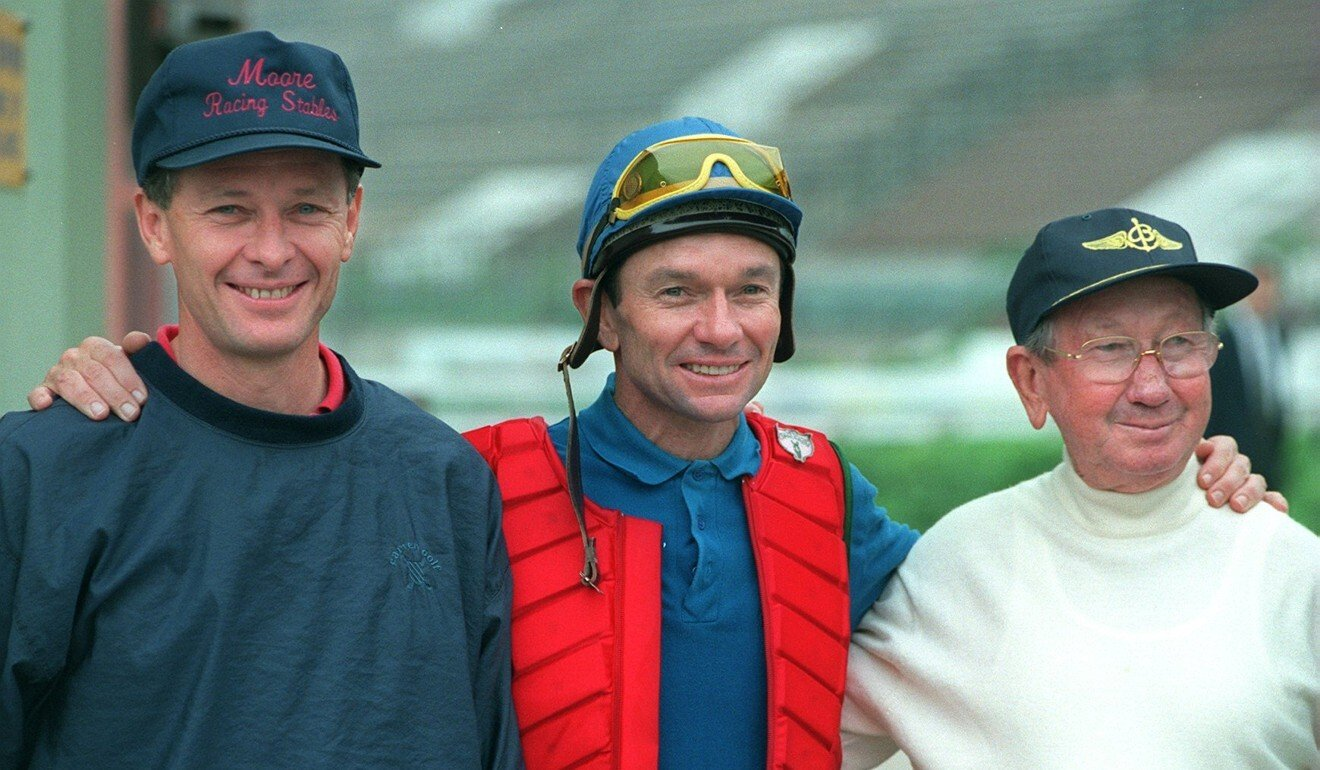 Champion Hong Kong trainer John Moore, his jockey brother Gary and patriarch George in 1997. Photo: SCMP