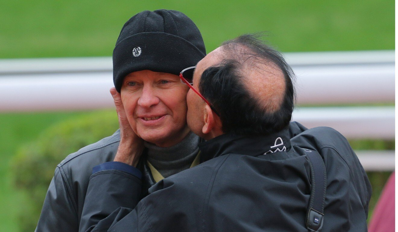 Gary Moore kisses John Moore after a win in 2016. Photo: Kenneth Chan