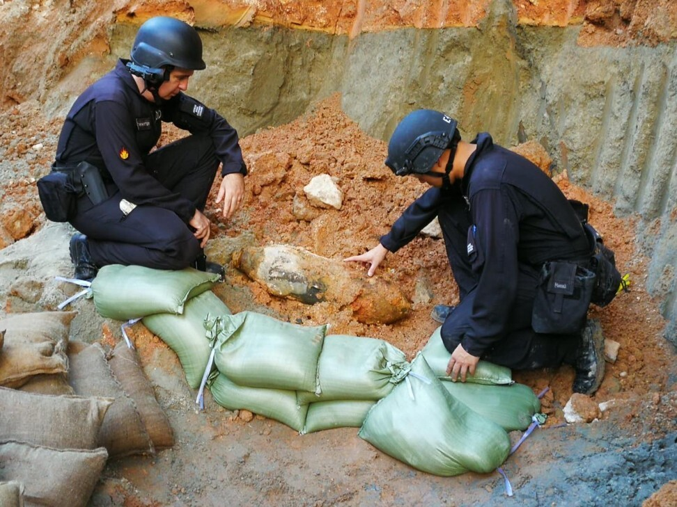 "The unexploded device, which has been described as being ""unstable"", was discovered near Kai Tak MTR station. Photo: Handout"