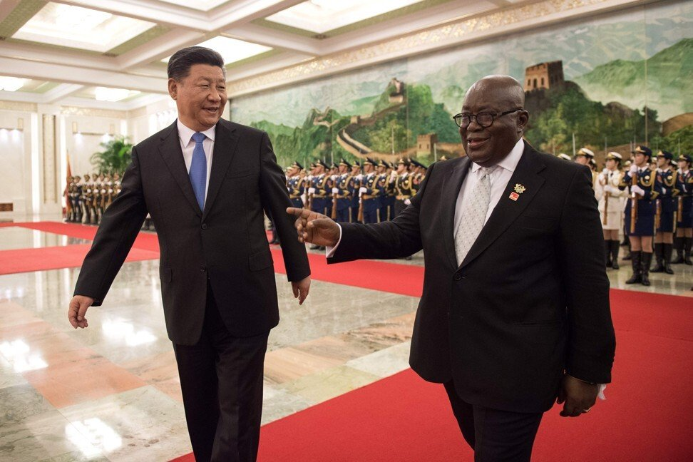 Chinese President Xi Jinping and Ghanian President Nana Akufo-Addo review a Chinese People's Liberation Army honour guard during a welcome ceremony at Beijing's Great Hall of the People in 2018. Akufo-Addo was in China for the Forum on China-Africa Cooperation. Photo: AFP