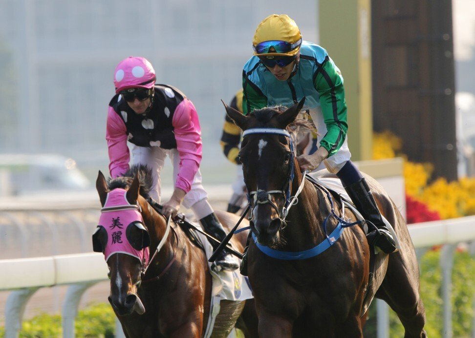Rise High (right) beats Beauty Generation in the Sha Tin Trophy. Photo: Kenneth Chan