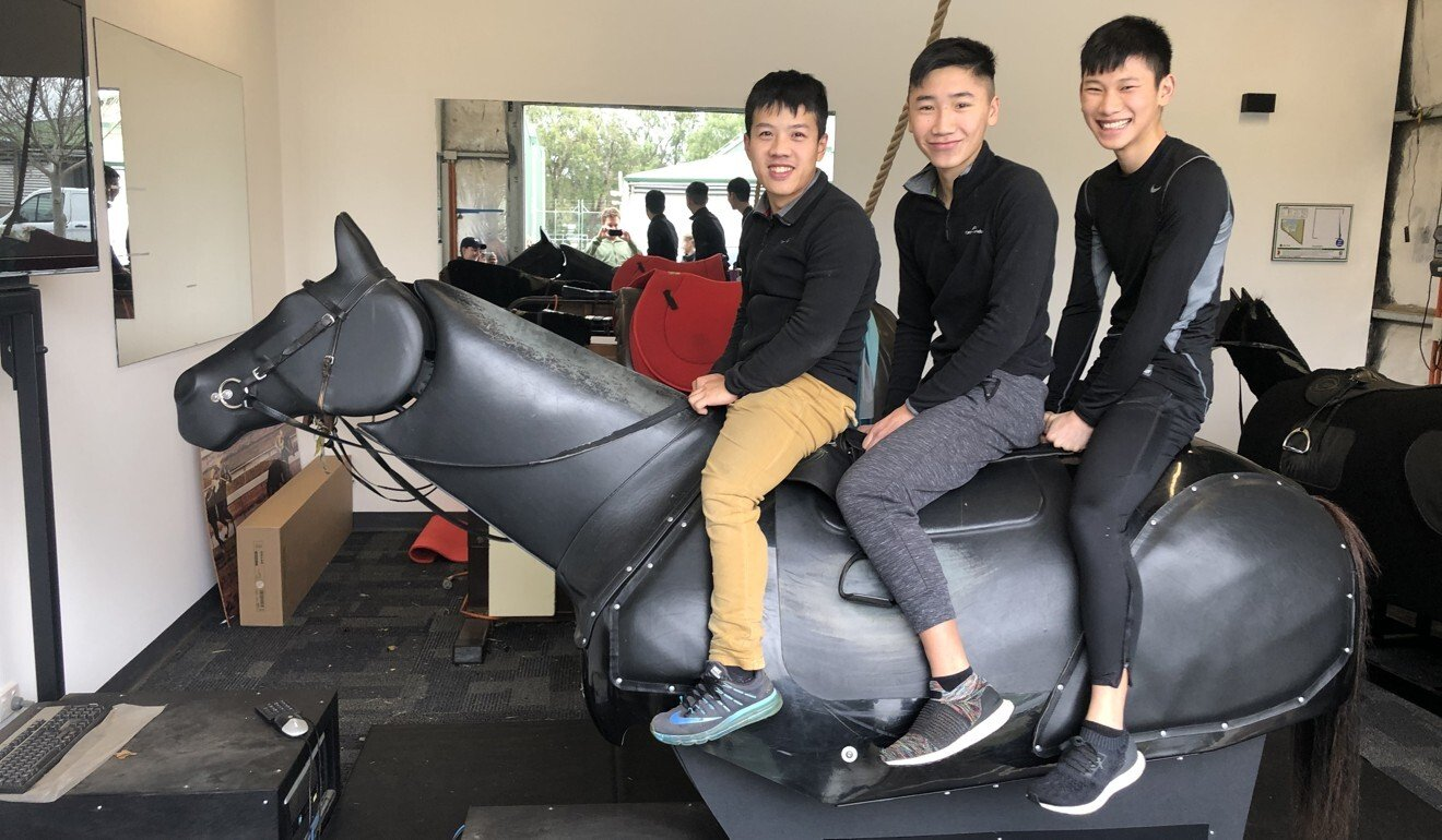 Hong Kong apprentice jockeys Kenny Lau, Gary Lo and Jerry Chau train in Adelaide. Photo: Sam Agars