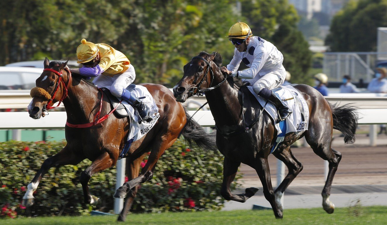 Blake Shinn (inside) is narrowly beaten by Golden Sixty in the Hong Kong Derby.
