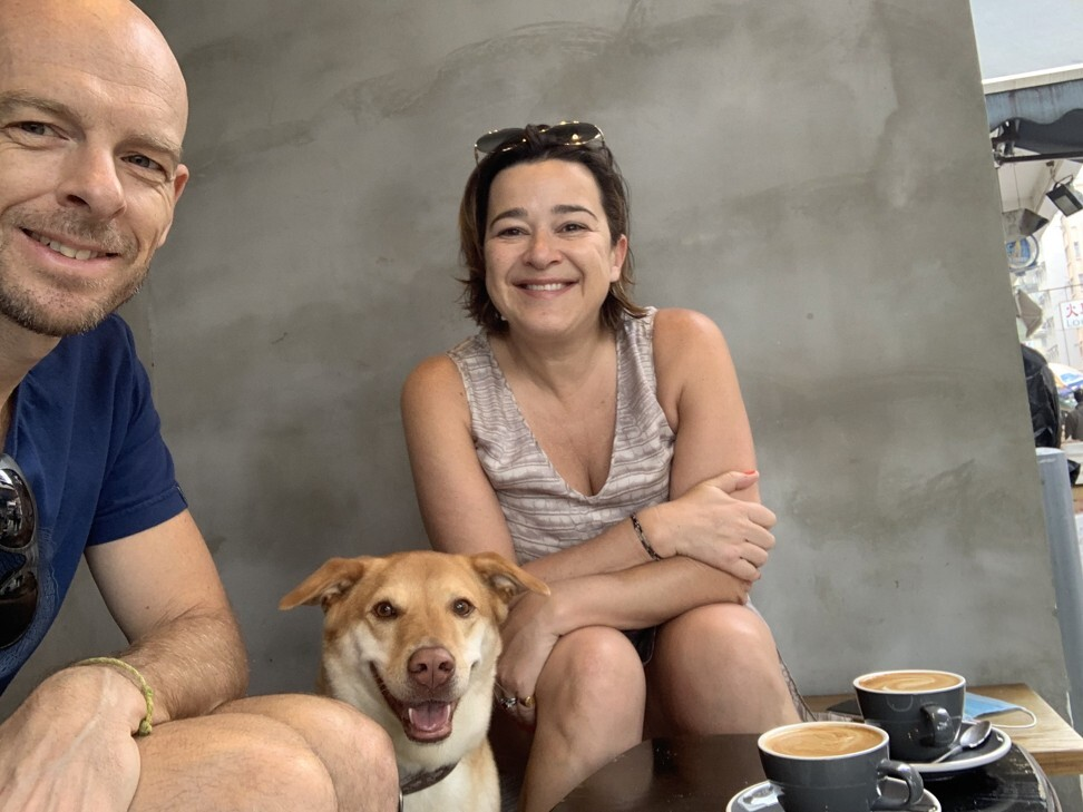 Michael Ormiston and wife Sandra with Jin having a coffee at Fine Print in Tai Hang. Photo: Handout