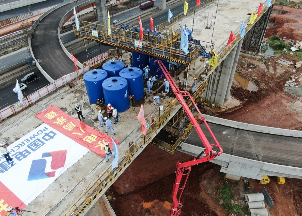 Aerial photo taken on May 10 shows the construction site of the first multi-span rigid frame continuous beam for the No.2 Bridge of the Jakarta-Bandung High Speed Railway in Indonesia. Photo: Xinhua