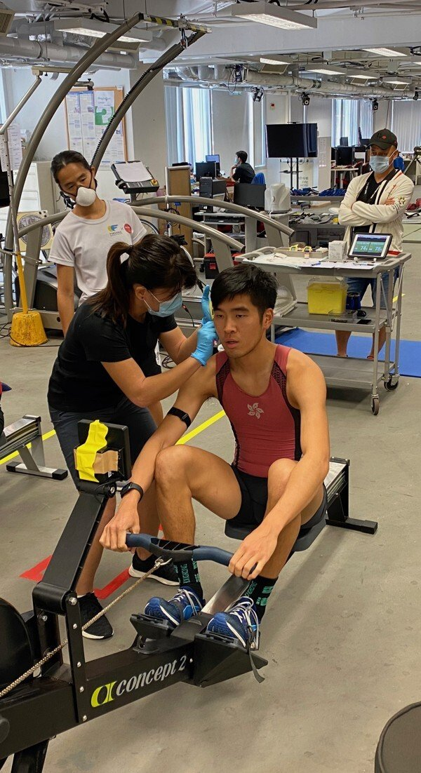 Chan Chi-fung completes a hard 30 minute row every Tuesday, but this week was different.