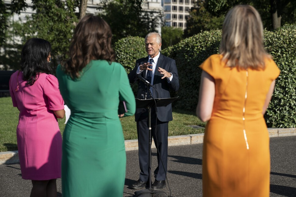 White House trade adviser Peter Navarro answers media questions on July 29. Navarro is among those in Trump's inner circle touting hydroxychloroquine as a treatment for the coronavirus, even though the Food and Drug Administration has determined that it is unlikely to be effective. Photo EPA-EFE