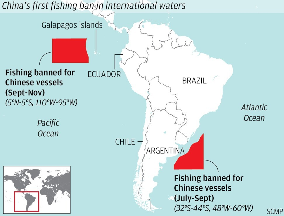 China's bans on fishing in waters off South America. Map: SCMP