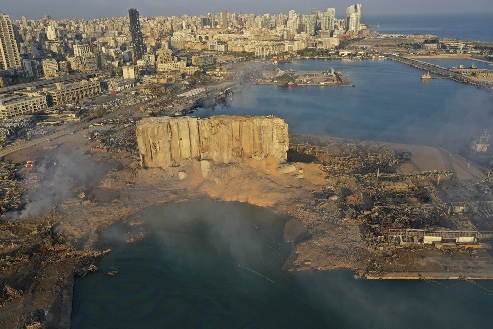 A massive explosion rocked Beirut on Tuesday, flattening much of the city's port, damaging buildings across the capital and sending a giant mushroom cloud into the sky. Photo: AP