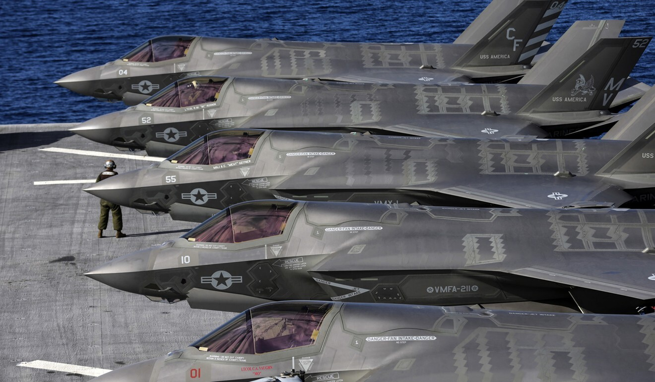The US has been carrying out exercises involving the deployment of F-35B Lightning II Joint Strike Fighters on the USS America. Photo: TNS