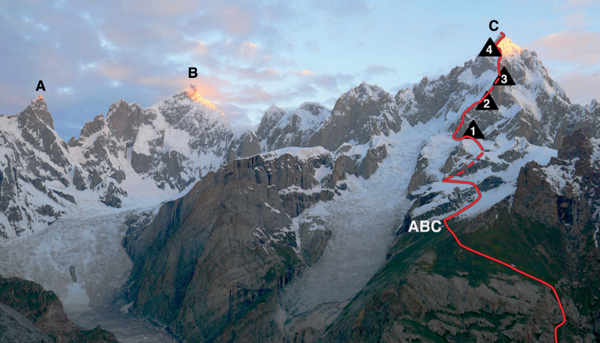 (C) marks Link Sar (7,041m) from the southeast, showing the line of the 2019 ascent, advanced base camp, and bivouacs. Photo: Matteo Della Bordella/American Alpine Journa