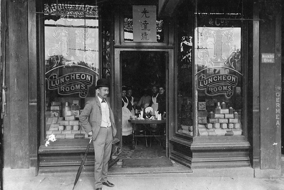 Quong Tart outside his Loong Shan Tea House on King Street in Sydney. Photo: State Library of NSW