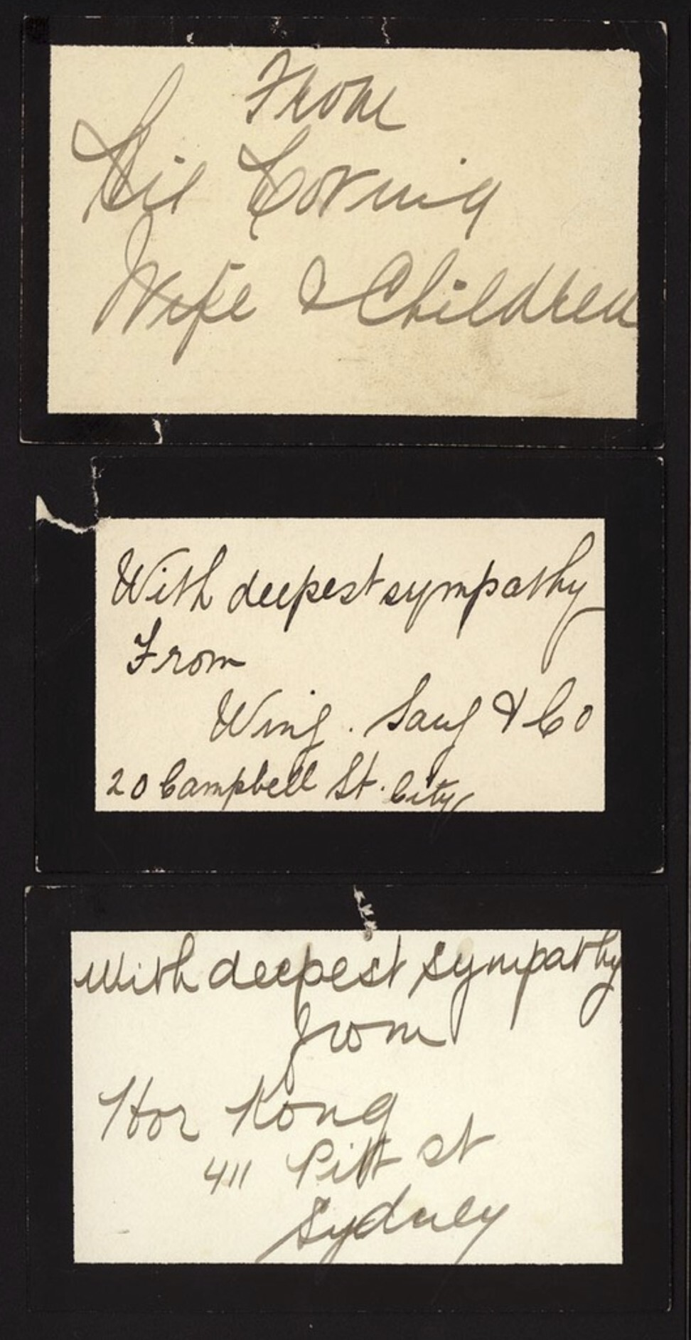 Condolence notes after the death of Quong Tart in 1903. Photo: State Library of NSW
