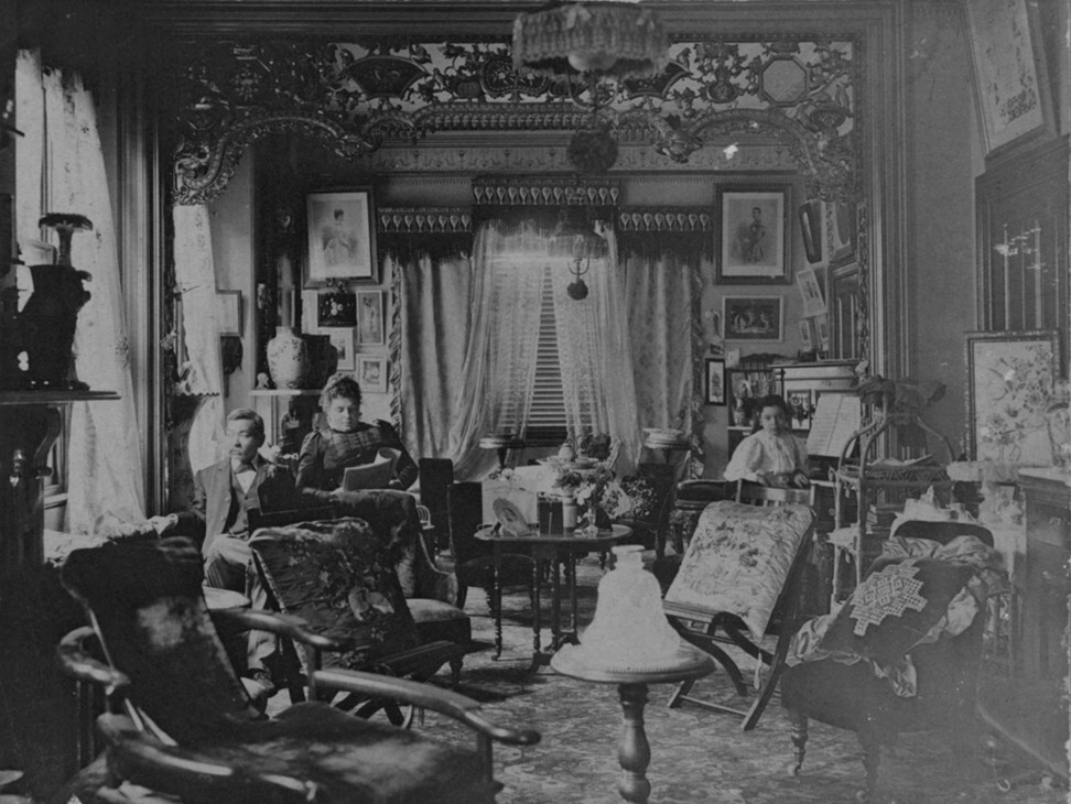 Quong Tart and his family in their sitting room at Gallop House on Arthur Street in Sydney circa 1900. Photo: State Library of NSW