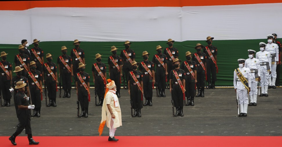 Indian Prime Minister Narendra Modi inspects a joint military guard of honour at the historic Red Fort monument on Independence Day in New Delhi on August 15. New Delhi has in recent years bought a wide array of US-made weapon platforms. Photo: AP