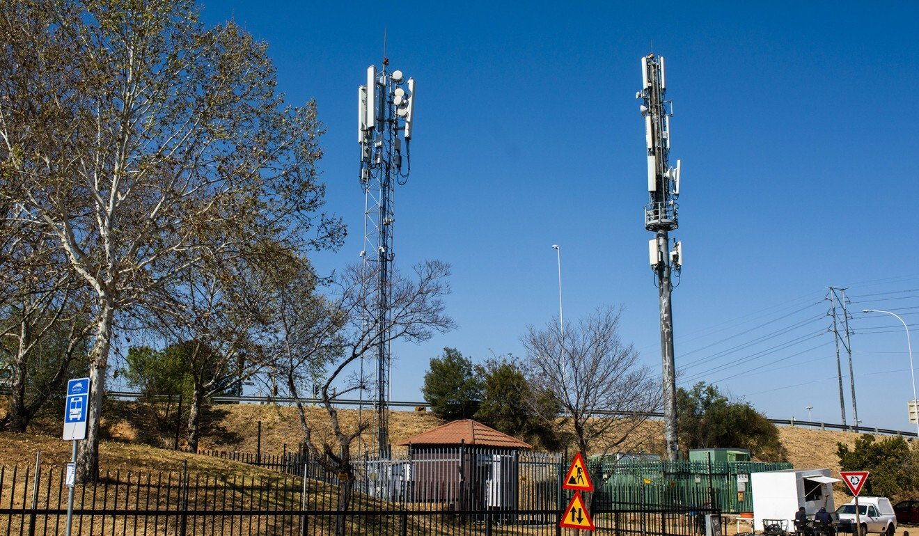 Cellphone towers in South Africa, where the country's only data-only mobile network, Rain, teamed with Huawei on a commercial 5G network. Photo: Bloomberg