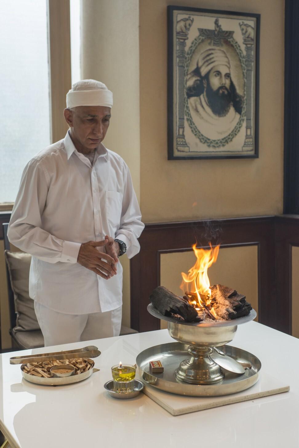 Zoroastrian priest Homyar Nasirabadwala in the Zoroastrian Prayer Hall at the Zoroastrian Building, in Causeway Bay. Photo: Antony Dickson