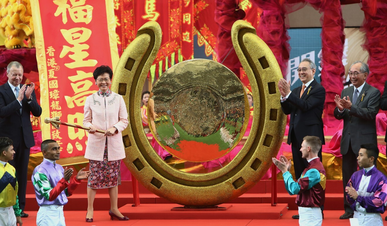 Chief executive Carrie Lam at Sha Tin's opening day in 2018.