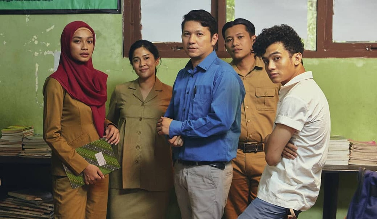From left: Faradina Mufti, Dian Sastrowardoyo, Gading Marten, Boris Bokir and Kevin Ardilova in a still from Crazy Awesome Teachers.