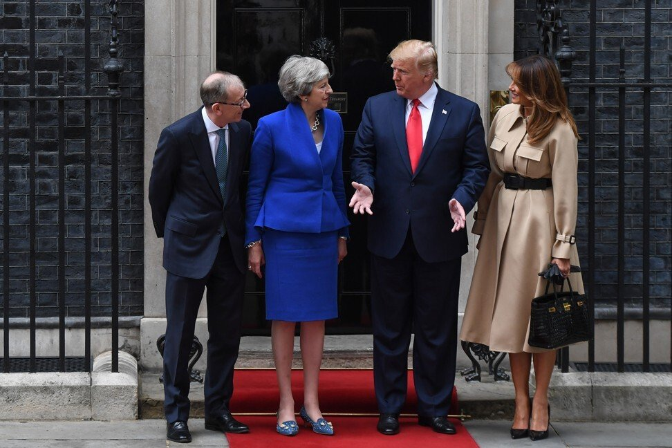 The Trumps meet former British prime minister Theresa May and husband Philip outside No 10 Downing Street last year. Photo: Bloomberg