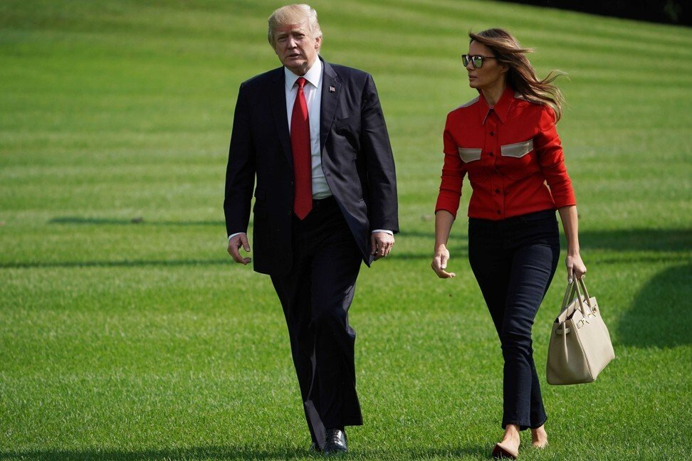 The Trumps return from a weekend at the Camp David presidential retreat. Photo: AFP/Getty Images