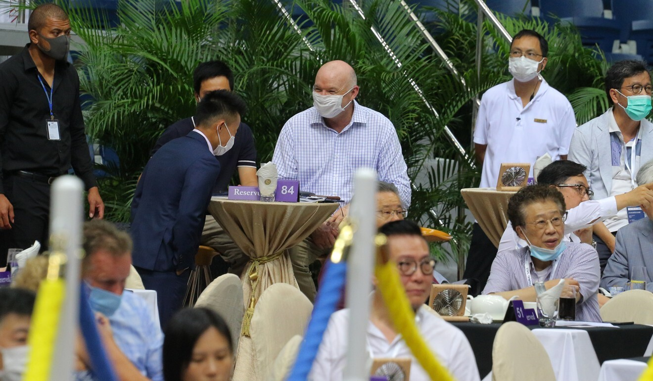 David Hayes with owners at Sha Tin during the Hong Kong International Sale.
