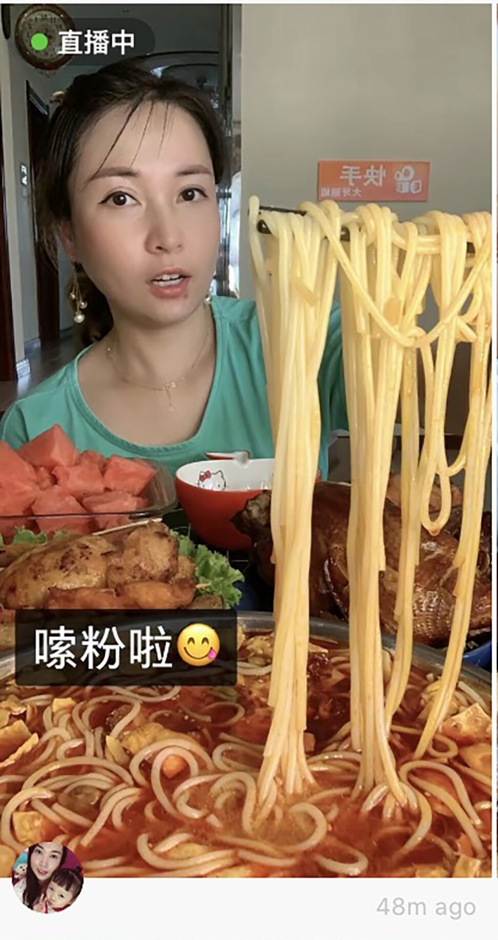 Chinese short video platforms Douyin and Kuaishou now show a reminder to users who search keywords related to eating shows, urging them to not waste food. Photo: SCMP